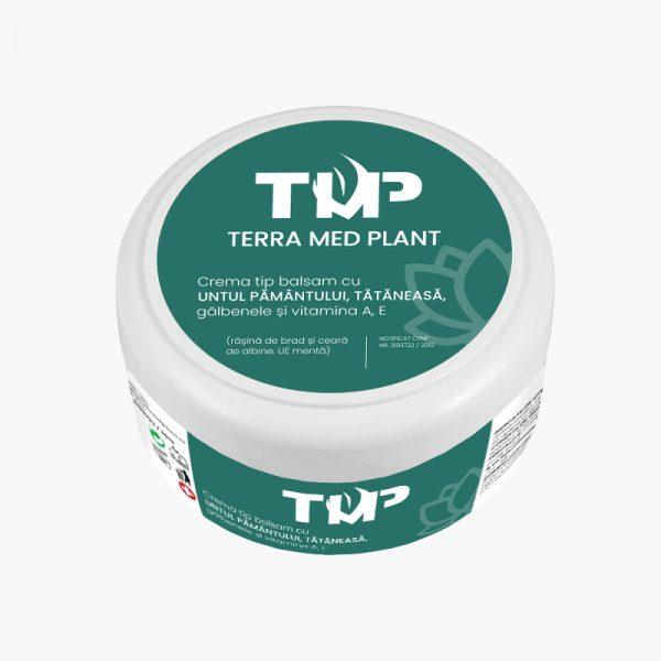 Crema tip balsam cu UNTUL PAMANTULUI, TATANEASA, GALBENELE si vitamina A, E Terra Med Plant